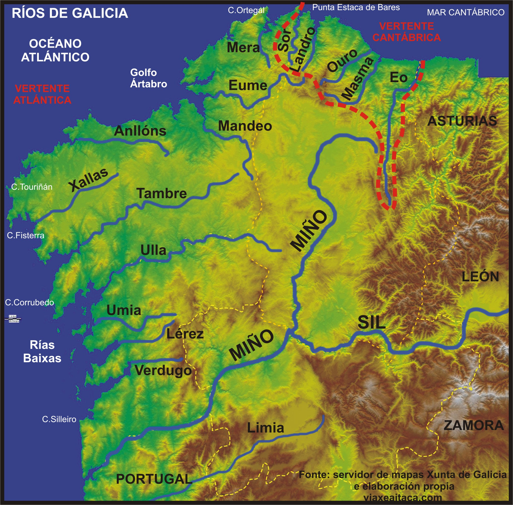 Mapa De Galicia Rios.Preparacion De Los Examenes De La Eso Concello De Marin Rios Galicia Ensino Formacion